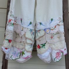 No link-great way to use vintage fabrics to make curtain panels or a tablecloth. ...pantaloons hankies