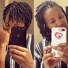 These pictures are exactly 1 year apart. Bathroom selfie in both pictures with the same shirt! Hahaha ✌‍♀️‍♀️ Somethings just never change. I am loving this journey! Short Locs Hairstyles, Short Dreads, Twist Hairstyles, Black Girls Hairstyles, Wedding Hairstyles, Natural Dreads, Natural Hair Care, Natural Hair Styles, Dreadlock Styles