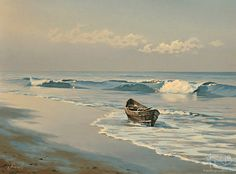 Seascape with Boat. Buying and selling paintings, artworks. Watercolor Landscape, Landscape Art, Landscape Paintings, Selling Paintings, Buy Paintings, Boat Art, Boat Painting, Seascape Paintings, Ocean Art