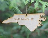 Natural Wood North Carolina State Ornament