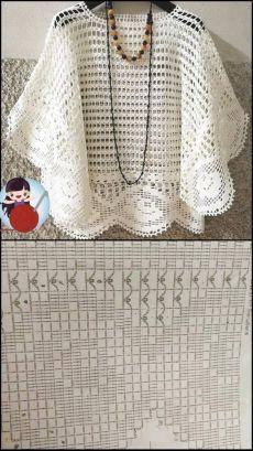 Crochet Jacket, Crochet Blouse, Crochet Poncho, Crochet Shawl Diagram, Crochet Motif, Knit Crochet, Poncho Style, Lila Pause, Knitting Patterns