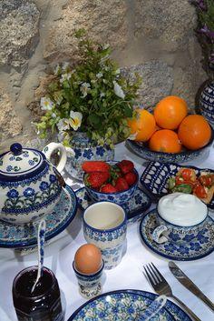Breakfast on Polish Pottery at Cloister Inn in Prague
