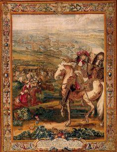 - Manufacture des Gobelins (Manufacture Royale des Meubles de la Couronne) - Lodewijk XIV wandtapijt - 17de eeuw - Hier is een gebeurtenis uit de eigen tijd gemaakt. Hier zijn er verschillende kartonschilders aan het werk gegaan met verschillende specialiteiten, zo zie je een rijkversierde rand maar ook een mens te paard. De makers hebben gebruik gemaakt van perspectief en velle kleuren -