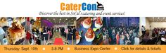 """Preview: CATERCON EXPO 2015: 70 exhibitors and 700 attendees are expected to attend. Tell your friends about CaterCon 2015! http://cheerstofood.com/catercon/ ***ADMISSION PRICE ONLY $50 Buy Tickets: http://catercon.com/tickets/ ****FOR MY READERS: Use promo code: """"KIM20"""" ($20 savings)****"""