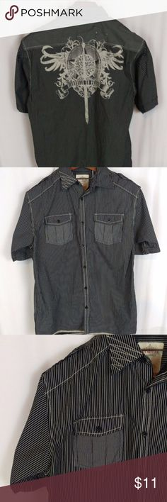 "Pinstripe Button Up Shirt Western Graphic Sz M Route Sixty Six Men's Button Down  Excellent condition. Smoke free. Short Sleeve  100% Cotton   Size M  Chest 22"" across  Length 31""  Shoulder to Shoulder 18""   ERT1 Route 66 Shirts Casual Button Down Shirts"