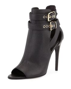 Overfield Open-Toe Bootie, Black by Burberry at Neiman Marcus.