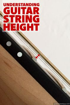 This guide explains the concept of string height (or action). You'll also learn about the advantages & disadvantages of low vs. high action, so you can decide which is right for you. Music Theory Guitar, Guitar Chord Chart, Music Guitar, Guitar Chords, Playing Guitar, Guitar Diy, Guitar Riffs, Jazz Guitar, Guitar Books