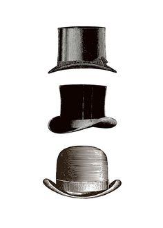Schwarz-Weiß-Poster mit Vintage-Hüten