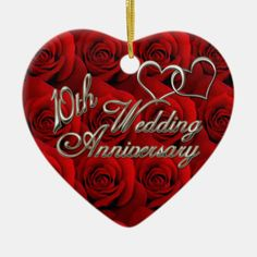 Shop Red Roses Wedding Anniversary Ornament created by holidayhearts. Happy 10 Year Anniversary, Wedding Anniversary Photos, Anniversary Dates, Red Christmas Ornaments, Heart Ornament, Beautiful Gifts, Rose Wedding, Wedding Supplies, Red Roses