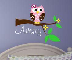 Baby Girl Wall Decal - Owl Tree Decal - Nursery Decor - Nursery Wall Decal - Girls Name Decal via Etsy