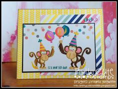 Creative Love Affair: Pretty Cute Stamps August New Release Sneak Peek! Birthday Monkey Digital Stamp coloured with Alcohol Inks using a no-line colouring technique.