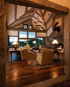 Log Home Living, Cozy Living Rooms, Living Spaces, Interior Architecture, Interior Design, Cabin In The Woods, Cozy Place, Reno, Log Homes
