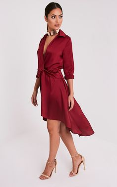 Gabbie Burgundy Silky Wrap Over Midi Dress