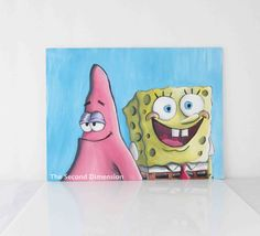 "Spongebob Squarepants Patrick Art Painting Flat Canvas 12"" x 9"" by TheSecondDimension on Etsy https://www.etsy.com/listing/241610499/spongebob-squarepants-patrick-art"
