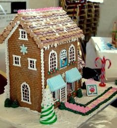 This is my very first Gingerbread house! I made it in front of an audience at a local Gingerbread House Competition. It was like a throw-down between me