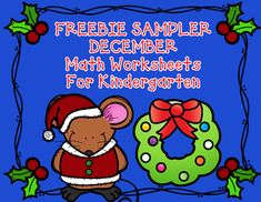 FREEBIE Sampler December Kindergarten Math Worksheets:  Christmas Math