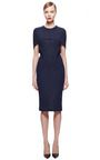 This melange tweed Zac Posen dress features a high round neck, cape-style short sleeves and a knee-length pencil skirt.Hidden zip back closure65% wool, 25% nylon, 10% silkFully linedMade in USAPlease note: This item may be returned for M'O credits or full refund.