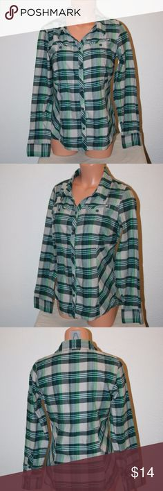 """COLUMBIA Small Green Plaid Shirt Blouse Button Up Columbia Excellent Condition - No Stains or Holes Size:  Small Ladies Shirt  Color:  Green, White and Gray Plaid Long Sleeves Two Chest Pockets Logo on Bottom Hem Button Front Soft Like A Very Lightweight Flannel   Chest:  36 1/2"""" (armpit to armpit then doubled) Length:  25 1/4"""" Sleeve Length:  23"""" 100% Cotton Columbia Tops Button Down Shirts"""