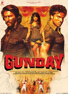 The new poster of the Ranveer Singh, Arjun Kapoor and Priyanka Chopra-starrer 'Gunday' has a distinctive retro feel. Movies Point, Download Free Movies Online, Hindi Movies Online, Bollywood Posters, Movies 2014, Movies Free, Full Hd 1080p, Tabu, Movie Songs