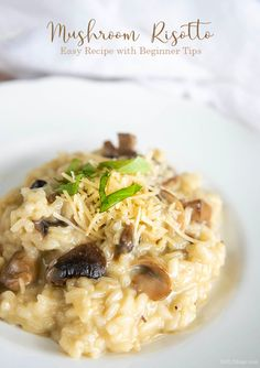 Easy Mushroom Risotto Recipe & Risotto Beginner Tips Best Pasta Recipes, Risotto Recipes, Easy Recipes, Cooking With White Wine, Cooking Wine, Pan Seared Scallops, Mushroom Risotto, Sauteed Mushrooms, How To Cook Shrimp