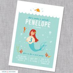 Mermaid Birthday Invitation - PRINTABLE. $15.50, via Etsy.