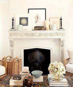 Love this elegant and feminine take on fall fireplace decor.
