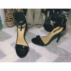 F21 Black Ankle Strap Heels I've only worn these once to a Military Ball for maybe 3 hours before I took them off (I've upgraded to my Steve Madden ones with a smaller heel, which is why I'm selling). The heel is 5 inches. They're in excellent condition. They are in the box. The box does have red marker coloring on the top lid. Forever 21 Shoes Heels