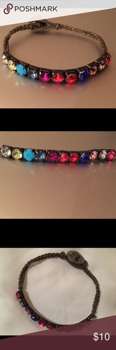 multi-colored rhinestone and leather bracelet multi-colored rhinestone and leather bracelet from american eagle.. brand new, never been worn.. American Eagle Outfitters Jewelry Bracelets