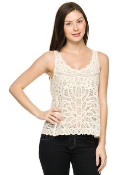 Embroidered mesh lace top.