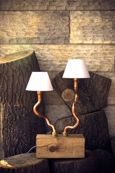 Double copper pipe table lamp with lampshade Solid wood base Gie El
