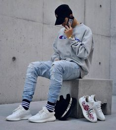** New Streetwear Daily ** Dope Fashion, Urban Fashion, Mens Fashion, Moda Streetwear, Streetwear Fashion, Tomboy Outfits, Trendy Outfits, Men Looks, Estilo Cholo