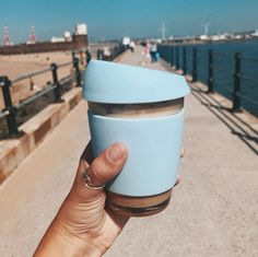 Love this shot of our Pastel Blue reusable cup in Liverpool. #EcoFriendly #Zerowaste #Coffeecup