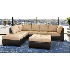 The Chelsea sectional and ottoman make a sleek, sophisticated statement in a modern living room or casual TV room. Made from a kiln-dried hardwood frame wit