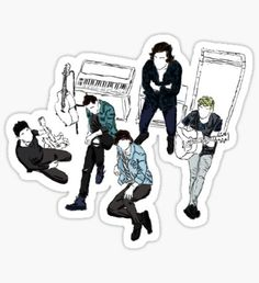 """""""one direction group dark]"""" Stickers by underscoree One Direction Group, One Direction Lyrics, One Direction Wallpaper, One Direction Imagines, One Direction Pictures, Printable Stickers, Cute Stickers, Laptop Stickers, Imprimibles One Direction"""