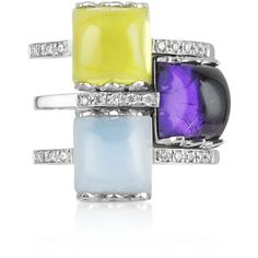 Mia & Beverly Gemstone and Diamond 18K White Gold Ring ($1,100) ❤ liked on Polyvore