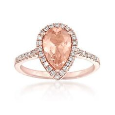 Ross-Simons - 1.60 Carat Morganite and .34 ct. t.w. Diamond Ring in 14kt Rose Gold - #862802