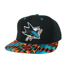 San Jose Sharks Custom Snapback Hat with Aztecs Stripe Fabric  amp  3ca162c249a0