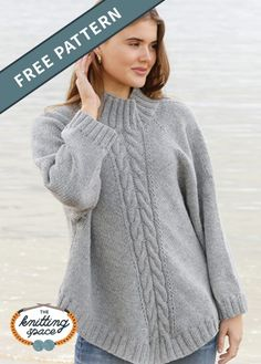 Northern Exposure Knit Poncho-Sweater FREE Knitting Pattern Craft this simply chic high-neck loose knitted sweater ideal for your fall and winter capsule wardrobe This pattern includes a free tutorial on Making Knitted Poncho Pullover, Poncho Sweater, Knitted Poncho, Knit Sweaters, Chunky Cardigan, Free Knitting Patterns For Women, Poncho Knitting Patterns, Sweater Patterns, Knitting Ideas
