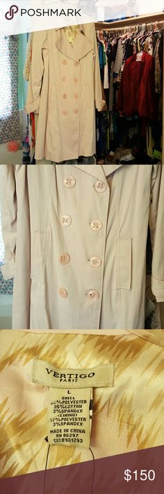 "NWT Vertigo Paris Trench Just in time for Fall! Cool morning, brisk evenings, this is the one for you! Rose colored. Sleeves 25.5"", shoulder to hem 38"" -the pics doesn't do this justice. I don't think I have the belt, hence, the low price. Too cute to let this one get away. Don't like the price? Reasonable offers are considered! Make one... (Notice the Blazer in the background? Yes, there's a listing for that as well) Vertigo Paris Jackets & Coats Trench Coats"