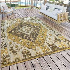 Flachgewebe-Teppich Robs in Gelb