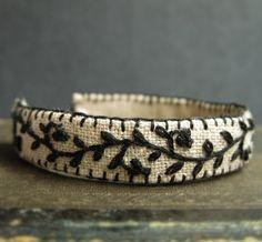Hand Embroidered Bracelet Black Vine on Natural Linen by Sidereal on Etsy