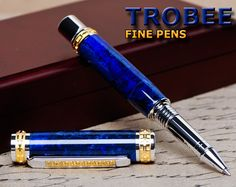 Fine Blue Rollerball Pen exquisitely handmade by by Trobee Pens, $149.99