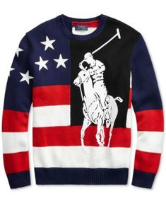 Polo Ralph Lauren Men's Big Pony Americana Sweater - Red/white Multi S Polo Shirt Outfits, Polo Ralph Lauren, Suede Chukka Boots, Gingham Shirt, Swagg, Pulls, Kids Outfits, Tee Shirts, Man Shop
