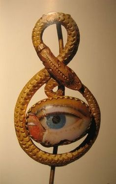 Late Georgian or Victorian snake pin with lovers eye