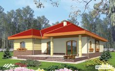 A bungalow with functional attic, without basement, with built in garage, intended for 4-person family. The roof of the building was designed in order to convert his central part into functional destinations. The simple functional agreement allows to distinguish the night zone with bedrooms and the bathroom and daily zone: living room kitchen with the dining room the toilet and a utility room. Living Room Kitchen, Dining Room, One Story Homes, First Story, Story House, Modular Homes, Luxury Villa, Attic, Bungalow
