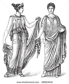 Woman fashion - greek (left) and roman (right) - Ancient period (450 v. chr.) / vintage illustration from Die Frau als hausarztin 1911 - stock vector