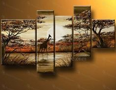 Hand-painted Arican Landscape Oil Painting with Stretched Frame-Set of 5 - Focus Vogue