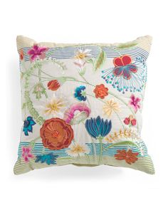 Made In India 18x18 Floral Stripe Pillow