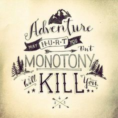 Monotony: boredom or dullness arising from the fact that nothing different ever happens.