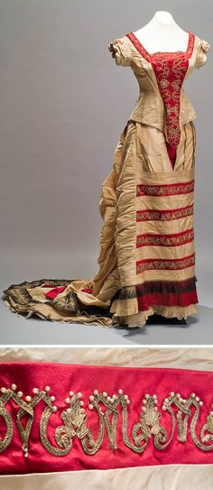 Evening dress ca. second half of the 19th century. Silk braided with gold thread, pearls, and applications of Chantilly lace. Museum of Mexican History